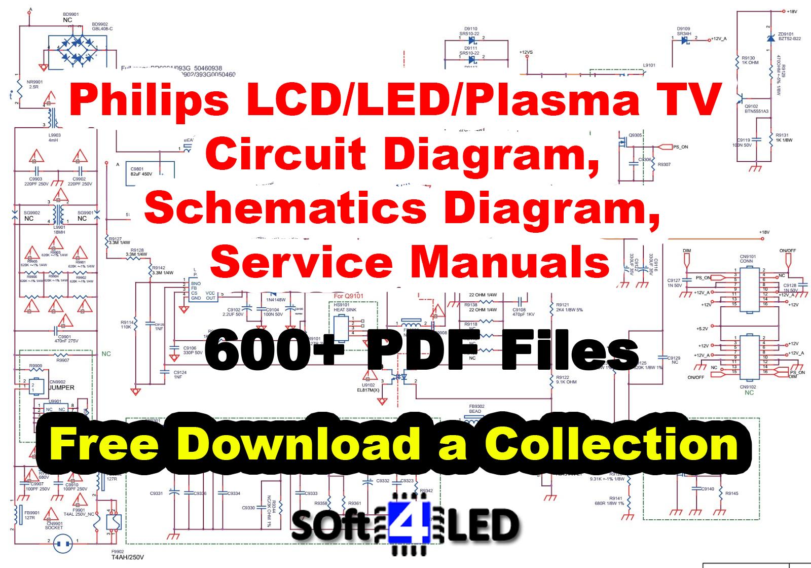 Philips Lcd  Led  Plasma Tv Circuit  Schematics Diagram  Service Manual